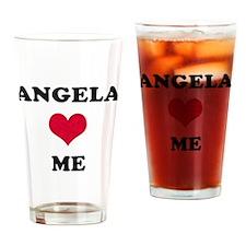 Angela Loves Me Drinking Glass