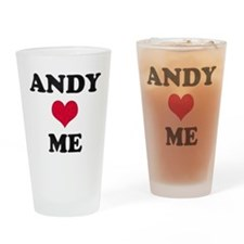 Andy Loves Me Drinking Glass