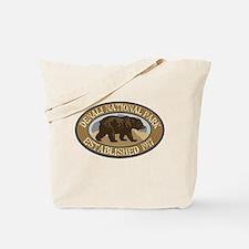 Denali Brown Bear Badge Tote Bag