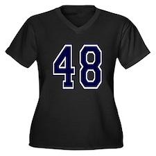 blue48.png Women's Plus Size V-Neck Dark T-Shirt