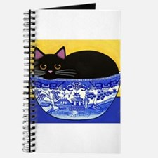 Unique Black cat in blue willow bowl Journal