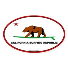 Ca. Surfing Republic Oval Decal