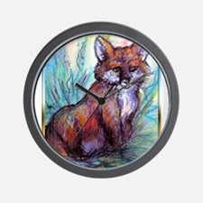 Fox, wildlife art! Wall Clock