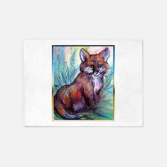 Fox, wildlife art! 5'x7'Area Rug