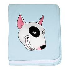 bull terrier head baby blanket