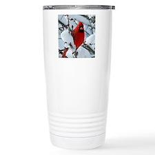 Snow Cardinal Travel Coffee Mug
