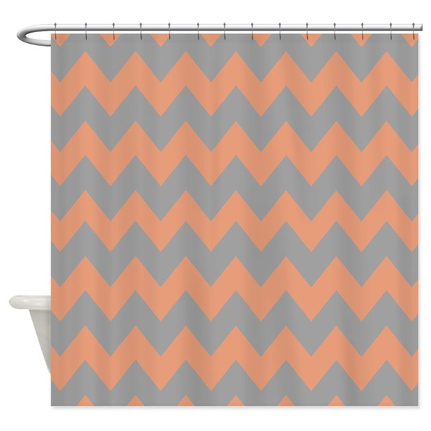peach and gray chevron shower curtain by chevroncitystripes