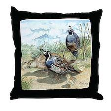 Quail Family Throw Pillow