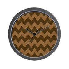 Shades of Brown Chevron Stripes Wall Clock