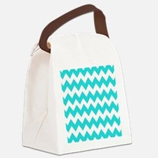 Teal and White Chevron Canvas Lunch Bag