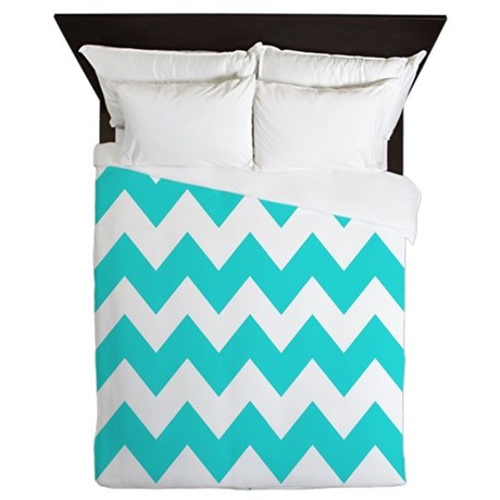 Teal and White Chevron Queen Duvet