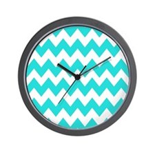 Teal and White Chevron Wall Clock