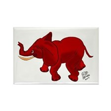 Red Elephant Rectangle Magnet