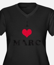 I Love Marc Women's Plus Size V-Neck Dark T-Shirt