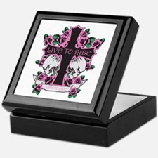 Roses Skulls-Pink- Live to Ride Keepsake Box