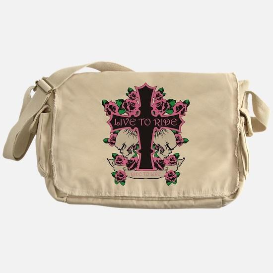 Roses Skulls-Pink- Live to Ride Messenger Bag