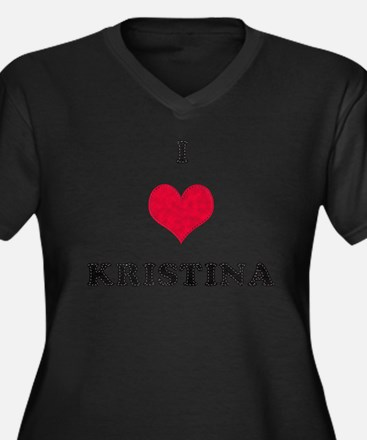 I Love Kristina Women's Plus Size V-Neck Dark T-Sh