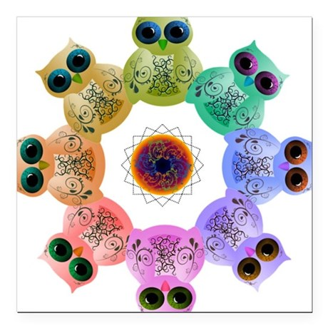 "Rainbow of Owls Square Car Magnet 3"" x 3"""