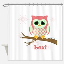 Custom name winter owl girl Shower Curtain