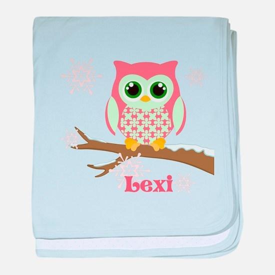 Custom name winter owl girl baby blanket