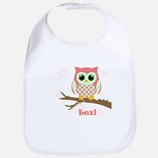 Custom name winter owl girl Bib
