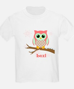 Custom name winter owl girl T-Shirt