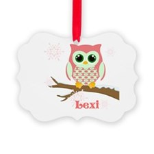 Custom name winter owl girl Ornament