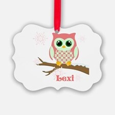 Custom name winter owl girl Ornament