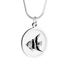 Angelfish (Amazon River) Silver Round Necklace