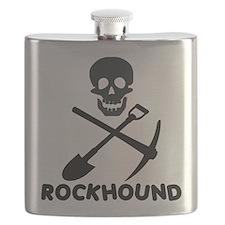 Rockhound Skull Cross Pick Shovel Flask