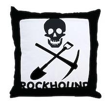 Rockhound Skull Cross Pick Shovel Throw Pillow