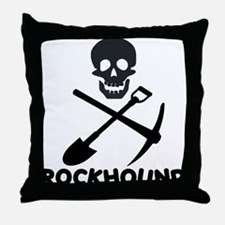 Rockhound Skull Cross Pick Shovel Throw Pillow