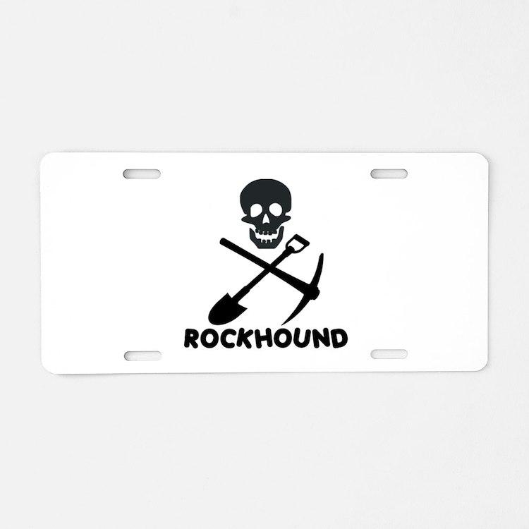 Rockhound Skull Cross Pick Shovel Aluminum License