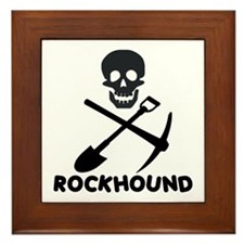 Rockhound Skull Cross Pick Shovel Framed Tile