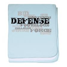 Defense (lettering) baby blanket