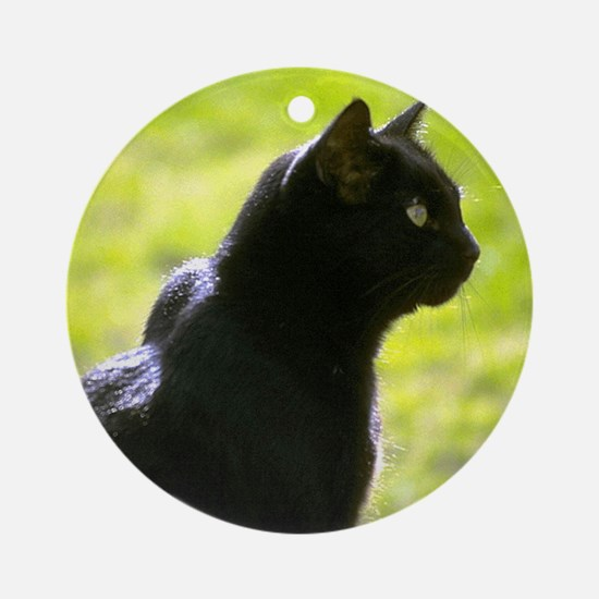 Black Cat profile Ornament (Round)