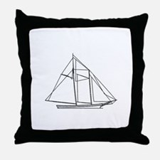 Schooner Sailboat Logo Throw Pillow