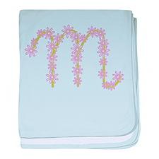 Monogram M baby blanket