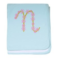 Monogram N baby blanket