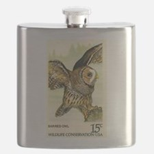 1978 United States Barred Owl Postage Stamp Flask