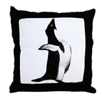 Penguin Poser Art Throw Pillow