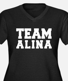 TEAM ALINA Women's Plus Size V-Neck Dark T-Shirt