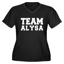TEAM ALYSA Women's Plus Size V-Neck Dark T-Shirt