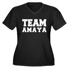 TEAM AMAYA Women's Plus Size V-Neck Dark T-Shirt