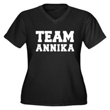 TEAM ANNIKA Women's Plus Size V-Neck Dark T-Shirt
