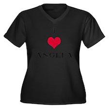 I Love Angela Women's Plus Size V-Neck Dark T-Shir