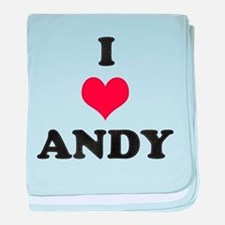 I Love Andy baby blanket