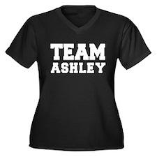 TEAM ASHLEY Women's Plus Size V-Neck Dark T-Shirt
