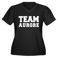 TEAM AURORE Women's Plus Size V-Neck Dark T-Shirt