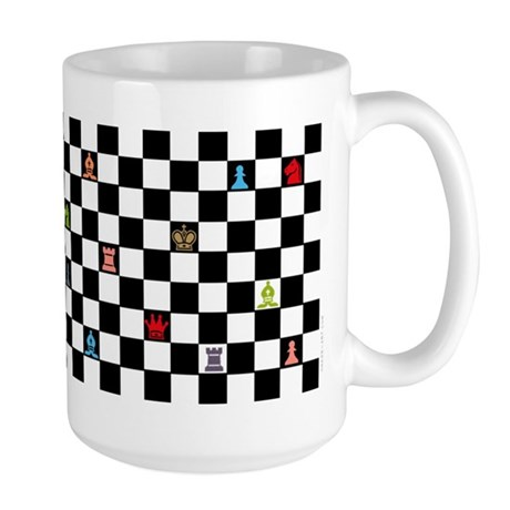 chess_colored pieces cup Mugs